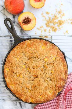 skillet peach streusel coffee cake