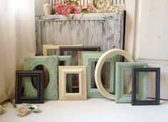 Mint Green and Gray Picture Frames Ornate by WillowsEndCottage, $138.00