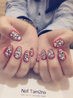 57 ideas nails art korean red for 2019 Korean Nail Art, Korean Nails, Tiffany Nails, Stone Nail Art, Asian Nails, Purple Nail Designs, Young Nails, Super Nails, Nail Art Diy