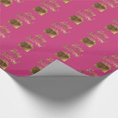 Happy Birthday Gift Pattern Pink Gold Typography Wrapping Paper - girly gifts special unique gift idea custom