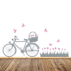 Bicycle Wall Art - Flower Decals - Birds and Butterflies - Modern Nursery Decals - Bike Wall Art - Girls Vinyl Wall Decor - Vinyl Decals by AppleandOliver on Etsy https://www.etsy.com/listing/215620739/bicycle-wall-art-flower-decals-birds-and