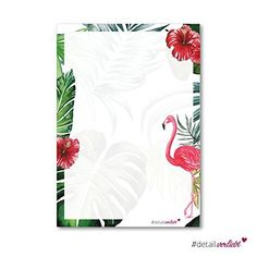 Flamingo-Papier | DV _ 209–50 feuilles – DIN A4 – papier à lettres papier Lettre Archet Flamingo Hawaii Fleur Fleurs d'été Palmiers…