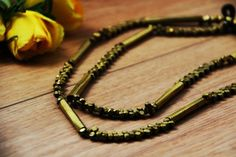 Pipe and Bead Dhokra necklace