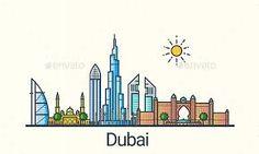 Image result for dubai skyline silhouette vector