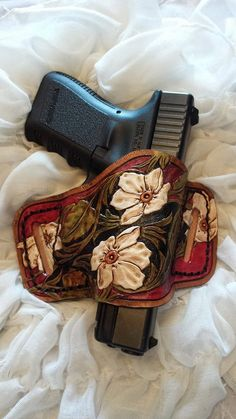 Leather Gun Holster Tooled Flowers conceal by RinehartLeather, $85.00