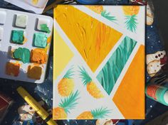 Pineapple canvas painting design Source by thediseasedchic Canvas Painting Designs, Cute Canvas Paintings, Easy Canvas Painting, Mini Canvas Art, Summer Painting, Diy Painting, College Canvas Paintings, Pinapple Painting, Fruit Painting