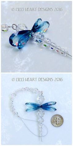 Gorgeous Ocean Blue Swarovski Winged Dragonfly Suncatcher, Car Charm Rear View M. Wire Jewelry, Jewelry Crafts, Beaded Jewelry, Jewelery, Handmade Jewelry, Beaded Bracelet, Earrings Handmade, Mirror Ornaments, Beaded Ornaments