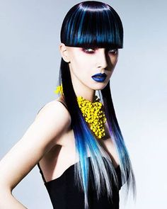 Beautiful #BlueHair design. Hair: Ben Price; MUA: Faye Campbell; Fashion Stylist: Marika Page; Photog: John Rawson