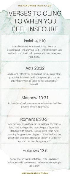 Cling to these verses when you lack confidence and want to be reminded of what God thinks of you. #insecurity #confidence Christian Quotes For Women, Bible Quotes For Women, Bible Verses Quotes, Prayer Verses, Text Quotes, Christian Faith, Bible Scriptures, Long Relationship Quotes, Friendship Day Quotes