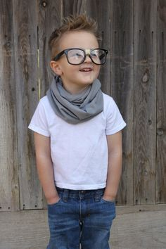 HANDSOME HIPSTER Toddler Scarf Little Boy Baby Infinity Jersey Knit GRAY Gift Rich Girl Rags Co Kid Unisex Girl Hipster Cute Kid on Etsy, $12.00
