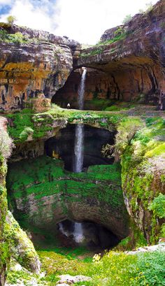 The Baatara gorge waterfall.The Baatara gorge waterfall (Balaa gorge waterfall) is a waterfall in the Tannourine, Lebanon. The waterfall drops 255 metres ft) into the Baatara Pothole, a cave of Jurassic limestone located on the Lebanon Mountain Trail. Les Cascades, Adventure Is Out There, Places Around The World, Amazing Nature, It's Amazing, Vacation Spots, Vacation Travel, Vacations, Fiji Travel