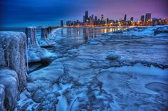 Chicago skyline from a frozen Lake Michigan...very cool but makes me cold looking at it. ❄
