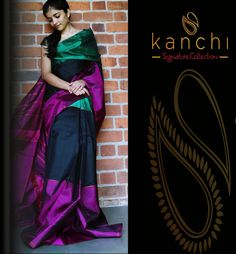 Kanchipuram saree by kanchi signature collection To place an order- FB… India Fashion, Ethnic Fashion, Indian Attire, Indian Wear, Indian Dresses, Indian Outfits, Phulkari Saree, Simple Sarees, Kanchipuram Saree