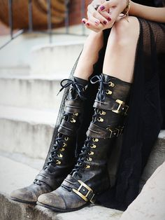 Free People Kantell Lace Up Boots in black