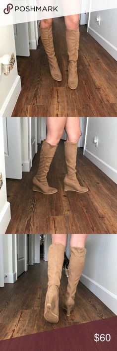 Victoria's Secret Suede Wedges Worn once so they are in great condition feel free to make an offer! Victoria's Secret Shoes Heeled Boots