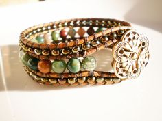 Leather Cuff Fancy Jasper Beads with Gold Tone by RopesofPearls
