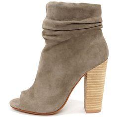Kristin Cavallari Chinese Laundry Laurel Grey Kid Suede Peep Toe... ($149) ❤ liked on Polyvore featuring shoes, boots, ankle booties, ankle boots, grey, suede boots, grey ankle boots, grey booties and suede booties