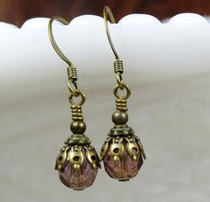 Purple Dainty and Petite Glass Beaded Dangle by CharmedbyBonnie