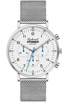 Richard Steiner Generation One Watch Brands, Gentleman, Mesh, Accessories, Designer Clocks, Pointers, Leather Cord, Branding, Gentleman Style