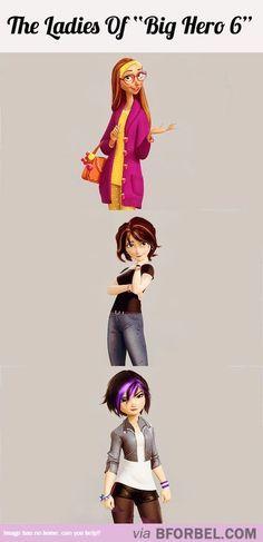 Ladies of Big Hero 6 - Honey Lemon, Aunt Cass, and Tomago Cute Disney, Disney Girls, Gogo Tomago, The Big Four, Baymax, Big Hero 6, Disney Marvel, Disney And Dreamworks, Disney Animation