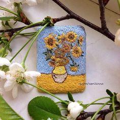 #embroidery #hademade # brooch van gogh art sunflowers #vangogh #вышивка #ручнаяработа #брошь #брошьручнойработы #подсолнухи #вангог #aprilinna