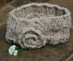 Ladies ear warmer headband Beige ear warmer  Knit by KennaInAfrica, $23.50