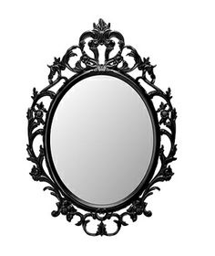 Ung Drill Mirror    The ornate, feminine frame is painted a glossy black to keep the piece modern. Hang it above a vanity or in an entryway to make a statement on an otherwise blank wall.