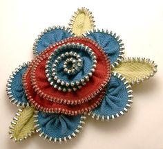 zipper flower pin brooch