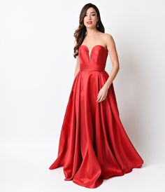 Red Sweetheart Strapless Corset Back Long Gown