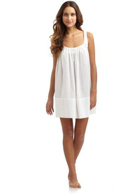 cotton sleeveless nightgown | ... New York Cotton Batiste Short Sleeveless Nightgown in White - Lyst