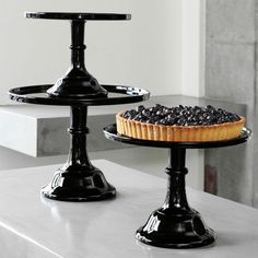 "Mosser Cake Plates Set of 3 BLACK RASBERRY Glass Pedestal Cake Stands 9"",10"",12"" #Mosser"