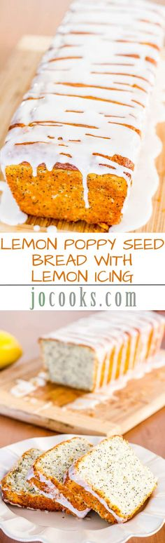 This delicious Lemon Poppy Seed Bread with Lemon Icing is so moist and simple to make, it simply takes you minutes to put together and in the oven it goes. #lemonpoppyseedbread #poppyseedbread via @jocooks