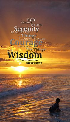 Serenity Prayer with Sunset - inspirational art by Sharon Cummings. #sharoncummings #arts #serenity