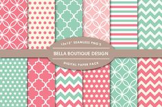 Vector & PNG Patterns - Coral & Mint by Bella Boutique Design on Creative Market
