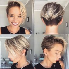 Long-Blonde-Pixie-Hair- - Peinados y pelo 2017 para hombre y mujeres Pixie Hairstyles, Pretty Hairstyles, Hairstyle Ideas, Pixie Haircuts, Undercut Hairstyles, Hairstyles 2018, Girls Shaved Hairstyles, Hairstyle Pictures, Woman Hairstyles