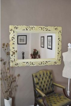 Elaborate ornate framed wall mirror with a beautifully detailed frame that would suit any room in the house. This mirror has a glass size of 3ft x 2ft (91cm x 61cm) and an overall size 4ft x 3ft (122cm x 91cm).