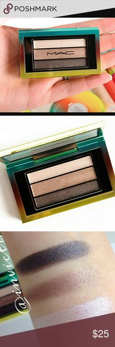 MAC Veluxe Pearlfusion Shadow Trio Permanent Press New in Box.  Never Been Used. Limited Edition, Sold Out. From the MAC Wash and Dry Collection Veluxe Pearlfusion Shadow Trio in Permanent Press Bottom to Top:?black with gold pearls, calm brown bronze,white beige. MAC Cosmetics Makeup Eyeshadow