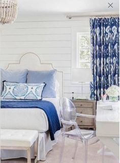 Items similar to Blue IKAT curtains blue white curtains Kravet shibori drapes curtains custom designer curtain panel dining extra long blue navy ikat curtain on Etsy Bedroom Color Schemes, Bedroom Colors, Bedroom Decor, Bedroom Ideas, Bedroom Rustic, Bedroom Themes, Design Bedroom, Bedroom Interiors, Colour Schemes