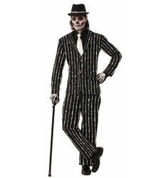 Skeleton Bones Pin Stripe Suit Adult Costume