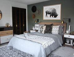 home decor bedroom colors Woodsy Bedroom, Home Decor Bedroom, Bedroom Ideas, Diy Bedroom, Bedroom Curtains, Master Bedrooms, Bedroom Designs, Western Bedroom Decor, Bedroom Makeovers