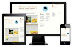 Voorbeeld van een website op computer, tablet en mobiel. Bij deze verkleint eerst de tekst aan de rechterkant op tablet, om op mobiel meer naar beneden te worden geplaatst.
