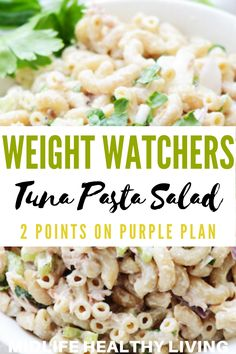 WW Tuna Pasta Salad This Weight Watchers Tuna Pasta Salad Recipe is easy to make and tastes great. The great thing about a WW pasta salad with tuna is it can be a whole meal or a side dish too. Only 2 smartpoints per serving on the myWW Purple Plan. Weight Watcher Snacks, Weight Watchers Sides, Weight Watchers Pasta, Weight Watchers Program, Weight Watchers Meal Plans, Pasta Salat, Tuna Salad Pasta, Healthy Macaroni Salad, Healthy Tuna Salad