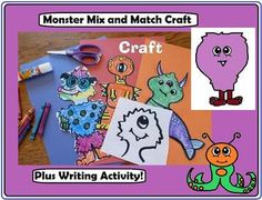 Monsters Mix and Match craft!  Kids choose from monster heads, bodies and feet to make their own monsters to color, cut out and display.  Great for Halloween!!