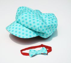Baby Bowtie and Paperboy Hat Aqua teal and red polka by BiLiBaby, $26.50