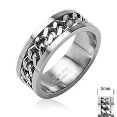 Urban HQ Stainless Steel Silver Spinning Worry Ring with Central Chain Spinner