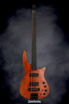 NS Design CR4 Radius Bass Guitar - Amber Satin, Fretless   Sweetwater.com