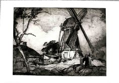 HUGE FRANK BRANGWYN ETCHING IN EXCEPTIONAL CONDITION WINDMILL AT DIXMUDE | eBay
