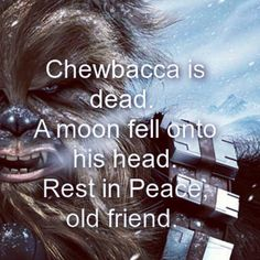 RIP #Chewbacca  Ok, I may be a little late to the funeral pyre but here is a little #haiku for our favorite #StarWars buddy. May you always be remembered. (Yes, I know he's in the new movie. That takes place before the rescues on Sernpidal during the Yuuzhan Vong War, where he dies saving Anakin Solo) (It is too canon! Disney bought out Lucas and Marvel. Therefore the Marvel produced Star Wars Legends series(s) are the OFFICIAL next chapters. So there.) #poetry #writing #geek #geekery #sob…