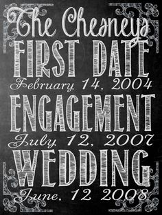 Fully Customizable CHALKBOARD WEDDING, engagement, first date sign, anniversary size 18x24. $30.00, via Etsy.