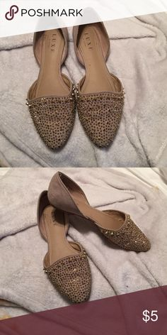 Gold studded flats USED gold studded flats size 8 JustFab Shoes